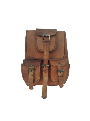 "Vintage Handmade 12"" Bag Genuine Real Leather Hiking Backpack Rucksack Bag"