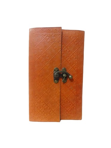 Vintage Genuine Leather Book of Shadows Orange Embossed Notebook Journal Memory Diary 9 x 5